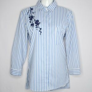 Button Down Shirt Striped Top w/ Flower Embroidery